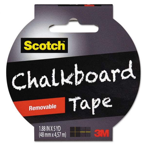 "Scotch Chalkboard Tape, 1.88"" x 5yds, 3"" Core, Black"