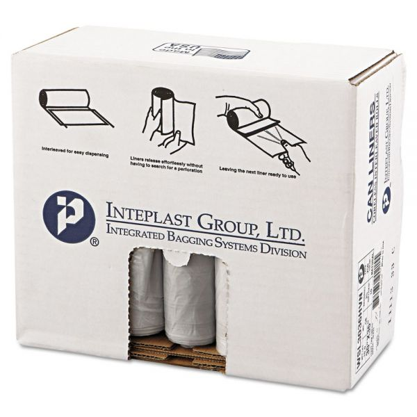 Inteplast Group Low-Density Can Liner, 30 x 36, 30gal, .58mil, Clear, 25/Roll, 10 Rolls/Carton