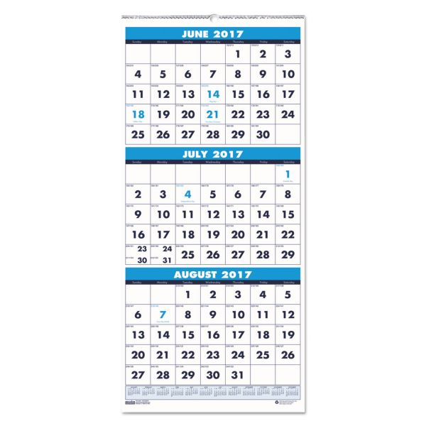 House of Doolittle Three-Month Academic Wall Calendar