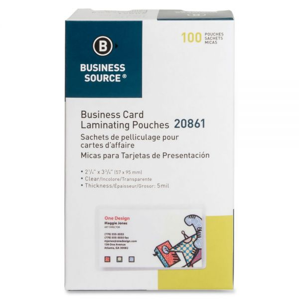 Business Source Business Card Laminating Pouches