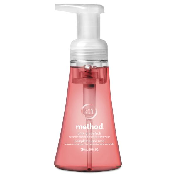 Method Foaming Hand Wash, Pink Grapefruit, 10 oz Pump Bottle, 6/Carton