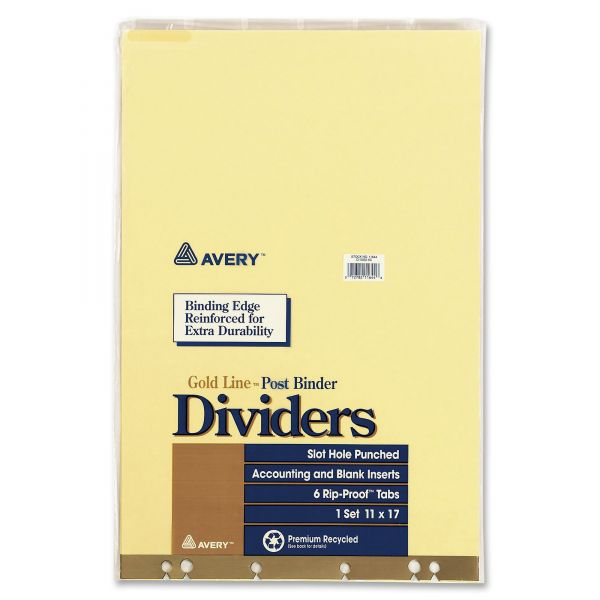 Avery Post Binder Dividers, Six-Tab with Inserts, 11 x 17, Clear, Six per Set