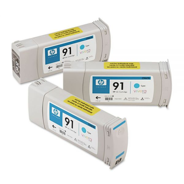 HP C9483A (91) Inkjet Cartridge, 3/Pk, Cyan