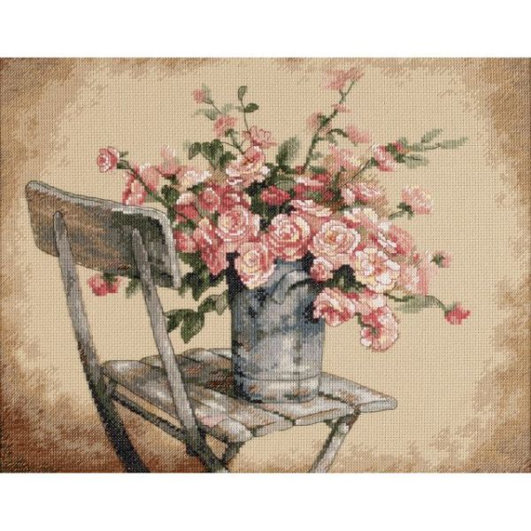 Dimensions Roses On White Chair Counted Cross Stitch Kit