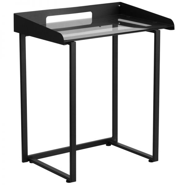 Flash Furniture Contemporary Desk with Clear Tempered Glass and Black Frame