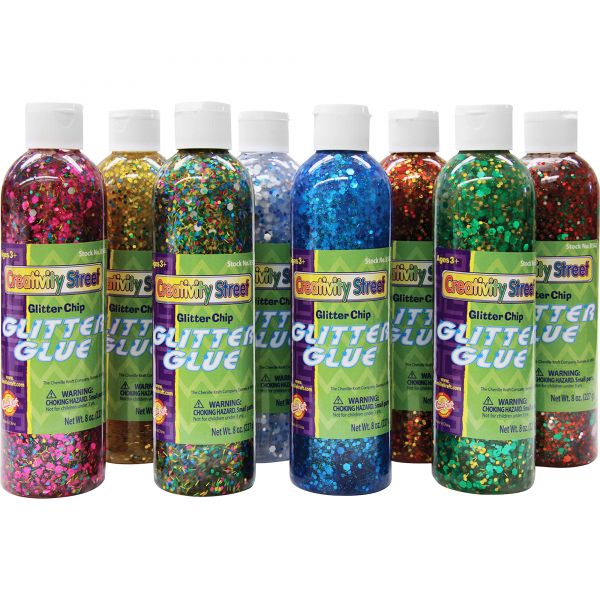 Creativity Street Glitter Glue Chip Class Pack, Assorted Colors, 8 oz Bottles, 8/Pack