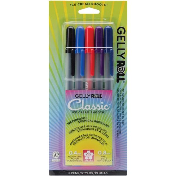 Gelly Roll Medium Point Pens 5/Pkg