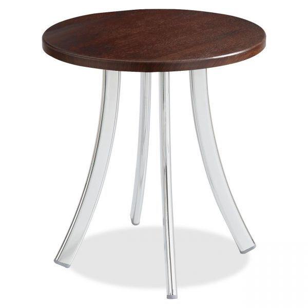"Safco Decori Wood Side Table, Round, 15-3/4"" Dia., 18-1/2"" High, Mahogany/Silver"