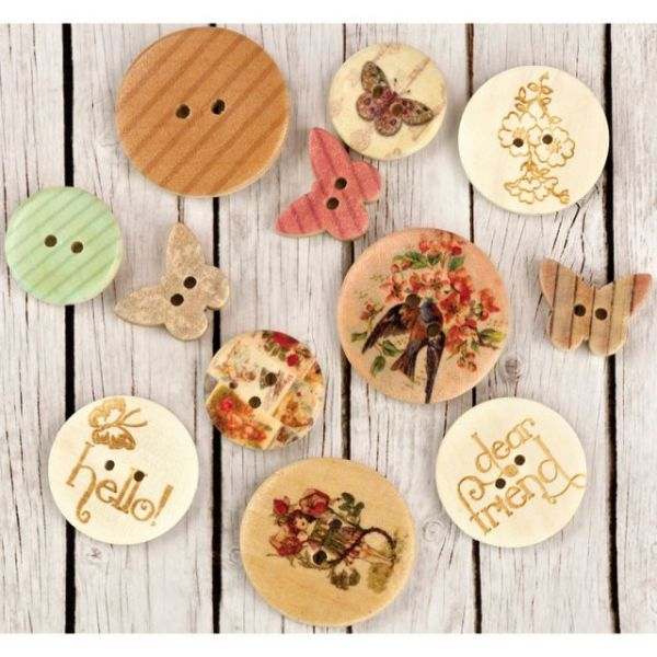 Fairy Rhymes Wood Buttons 12/Pkg