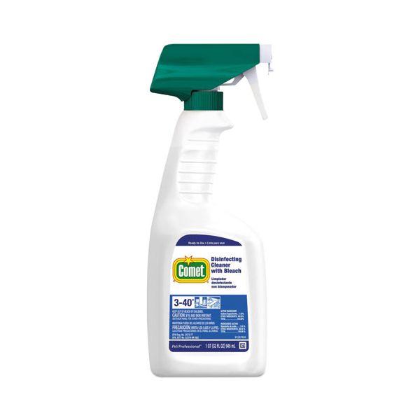 Comet Disinfecting Cleaner w/Bleach, 32 oz., Plastic Spray Bottle, Fresh Scent, 8/CT