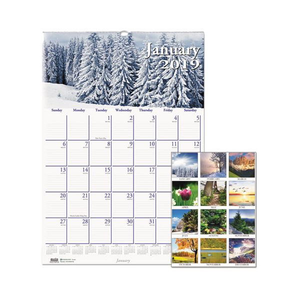 House of Doolittle Recycled Scenic Beauty Monthly Wall Calendar, 12 x 16 1/2, 2019