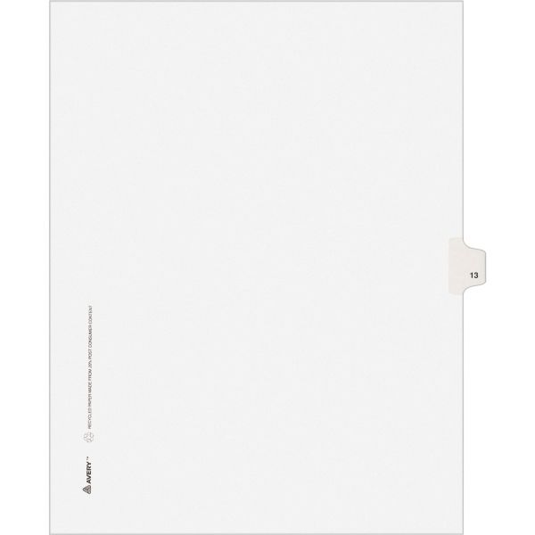 Avery-Style Legal Exhibit Side Tab Divider, Title: 13, Letter, White, 25/Pack