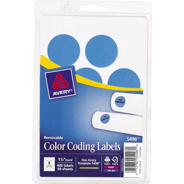 """Avery Printable Removable Color-Coding Labels, 1 1/4"""" dia, Light Blue, 400/Pack"""