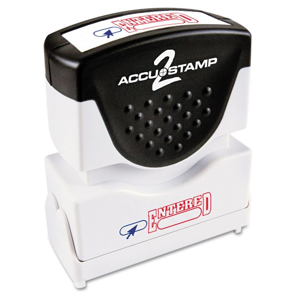 ACCUSTAMP2 Pre-Inked Shutter Stamp with Microban, Red/Blue, ENTERED, 1 5/8 x 1/2