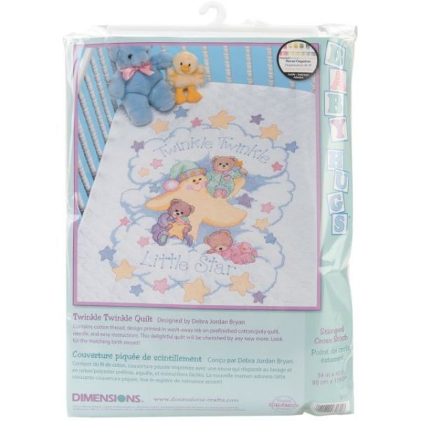 Dimensions Twinkle Twinkle Quilt Stamped Cross Stitch Kit