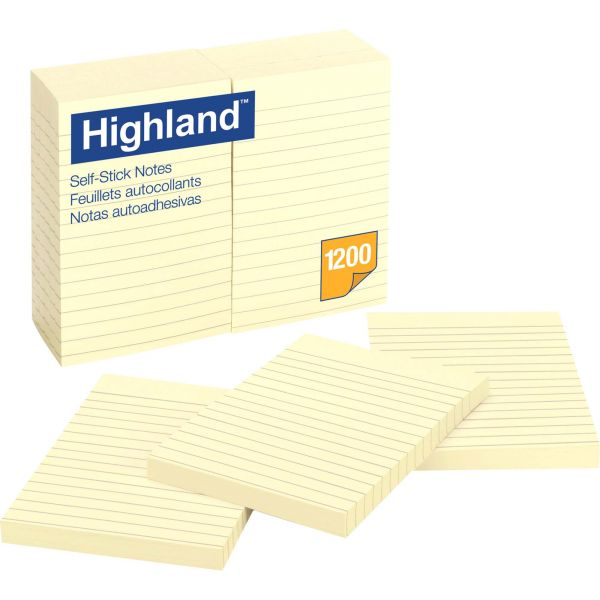 Highland Ruled/Lined Adhesive Note Pads