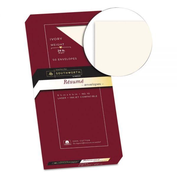 Southworth 100% Cotton #10 Resume Envelope, 4 1/8 x 9 1/2, Ivory, 24lb, Wove, 50/Box