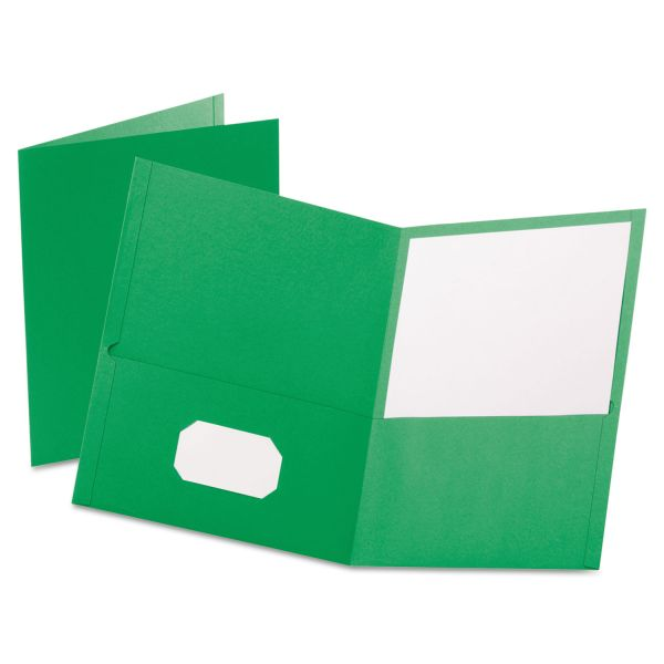 Oxford Twin-Pocket Folder, 100-Sheet Capacity, Light Green, 25/Box