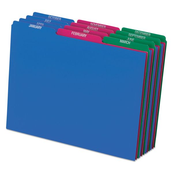 Pendaflex Top Tab File Guides, Monthly/Jan-Dec, 1/3 Tab, Polypropylene, Letter, 12/Set