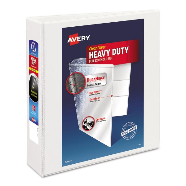 "Avery Heavy-Duty Non Stick 3-Ring View Binder, 2"" Capacity, Slant Ring, White"