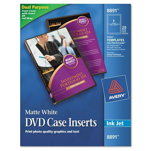 Avery Inkjet DVD Case Inserts, Matte White, 20/Pack