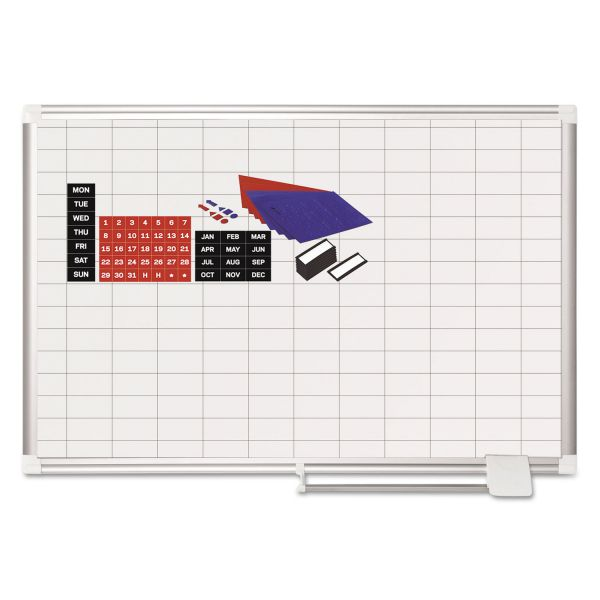 MasterVision Grid Planning Board w/ Accessories, 1 x 2 Grid, 36 x 24, White/Silver