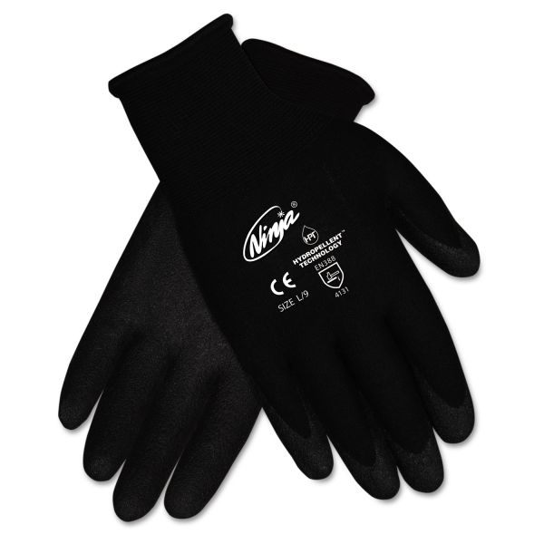 MCR Safety Ninja HPT PVC coated Nylon Gloves, Medium, Black, Pair