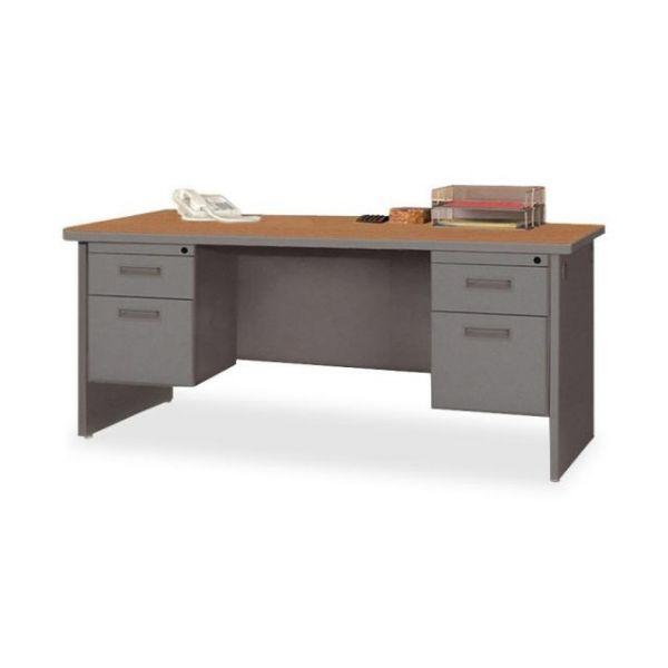 Lorell Durable Double Pedestal Computer Desk