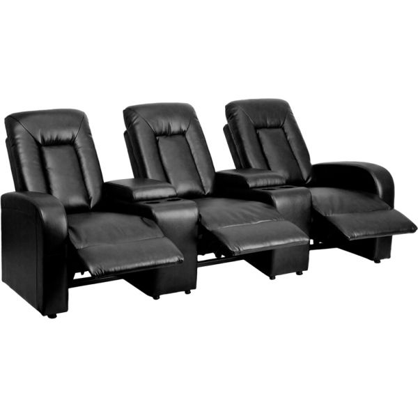Flash Furniture Eclipse Series 3-Seat Reclining Black Leather Theater Seating Unit with Cup Holders