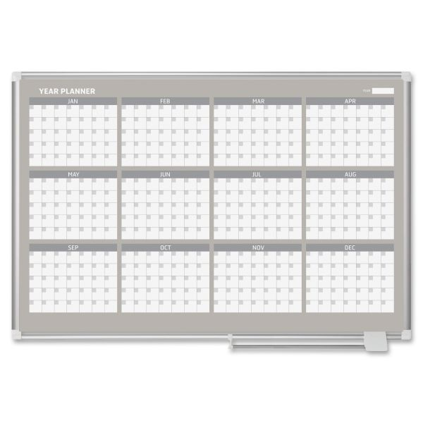 "MasterVision MasterVision Grid Planning Board, 1"" Grid, 36x48, White/Silver"