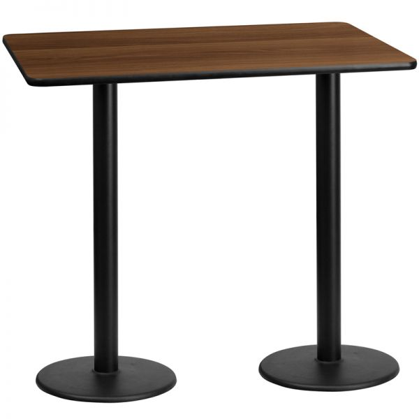 Flash Furniture 30'' x 60'' Rectangular Walnut Laminate Table Top with 18'' Round Bar Height Table Bases