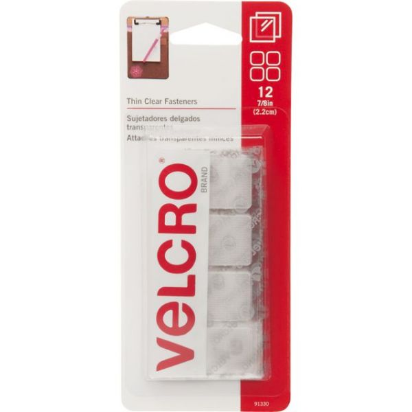 "VELCRO(R) Brand Thin Fasteners Squares 7/8"" 12/Pkg"