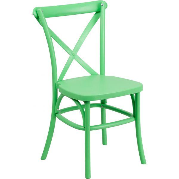 Flash Furniture HERCULES Series Green Resin Indoor-Outdoor Cross Back Chair with Steel Inner Leg