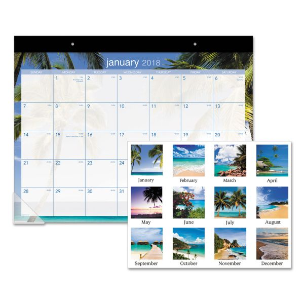 AT-A-GLANCE Recycled Tropical Escape Monthly Desk Pad Calendar