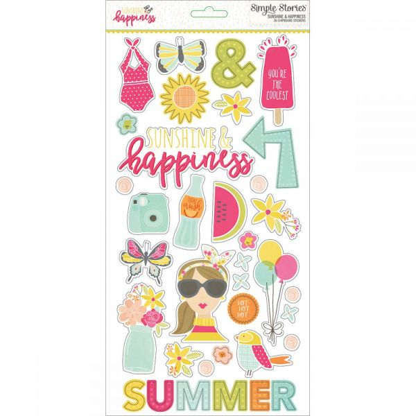 "Sunshine & Happiness Chipboard Stickers 6""X12"""
