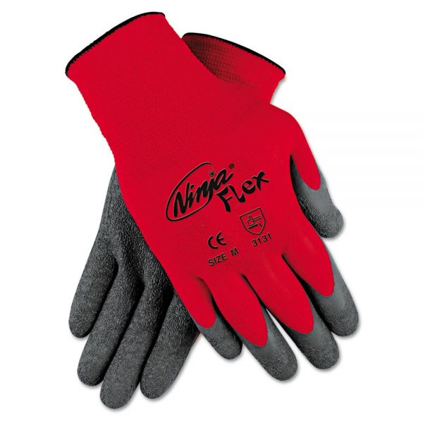 MCR Safety Ninja Flex Latex-Coated-Palm Gloves, Nylon Shell, Large, Red/Gray
