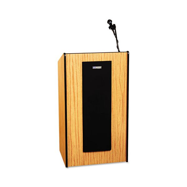 AmpliVox Presidential Plus Wireless Sound Lectern, 25-1/2w x 20-1/2d x 46-1/2h, Med Oak