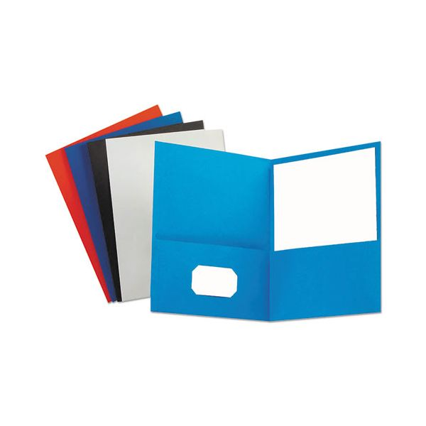 Universal Two-Pocket Portfolio, Embossed Leather Grain Paper, Assorted Colors, 25/Box