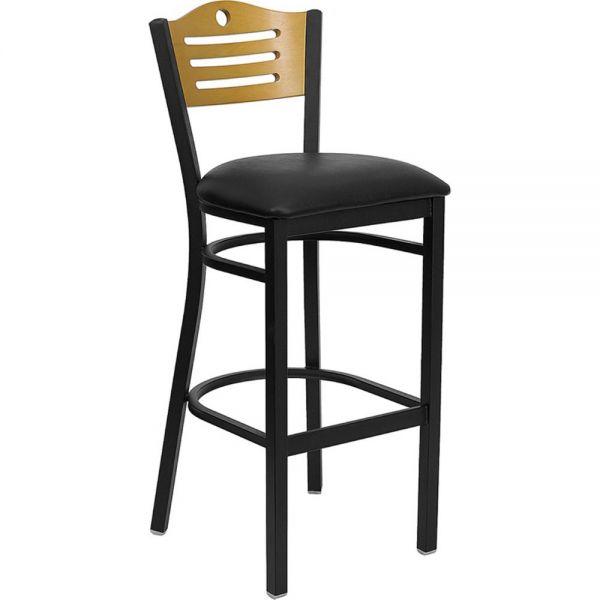 Flash Furniture HERCULES Series Black Slat Back Metal Restaurant Barstool - Natural Wood Back, Black Vinyl Seat