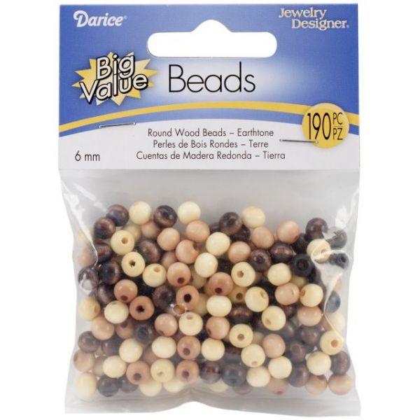 Round Wood Beads 6mm 190/Pkg