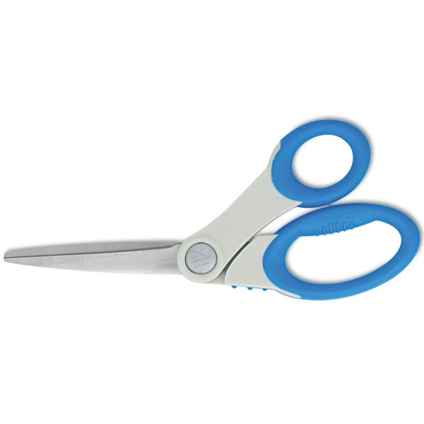 Westcott Soft Handle Bent Scissors With Antimicrobial Protection, Blue, 8""