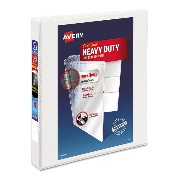 "Avery Heavy-Duty 3-Ring View Binder w/Locking 1-Touch EZD Rings, 1"" Capacity, White"