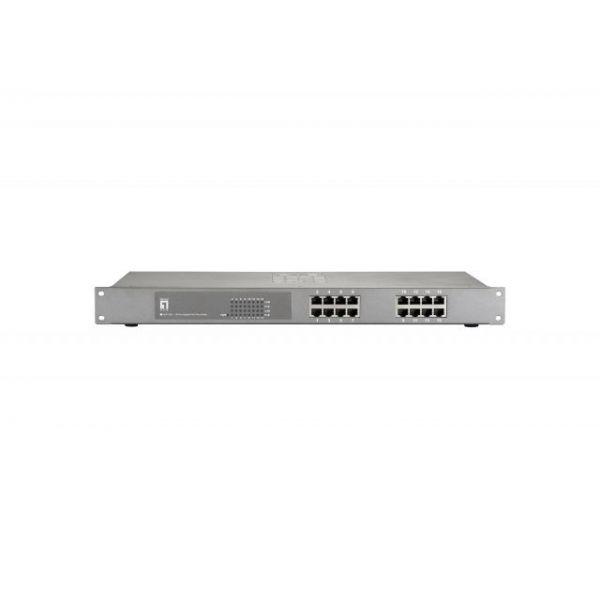"LevelOne GEP-1621 16-Port Gigabit PoE 19"" Rack Mounatble Switch (240W)"