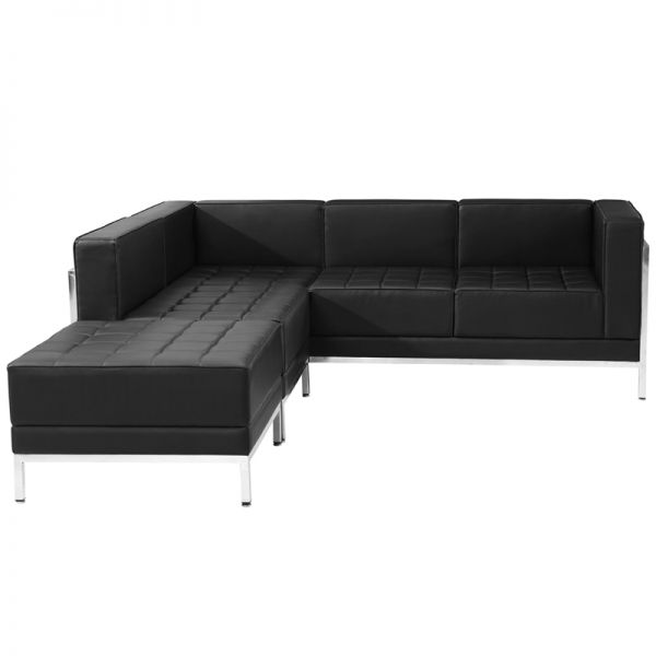 Flash Furniture HERCULES Imagination Series Black Leather Sectional Configuration, 3 Pieces