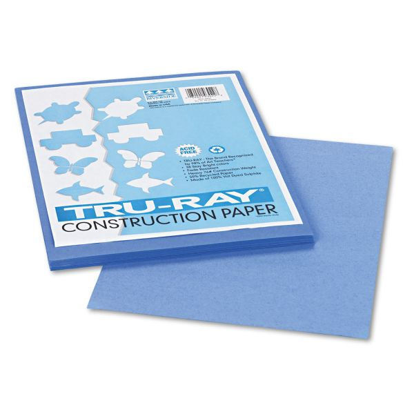 Pacon Tru-Ray Construction Paper, 76 lbs., 9 x 12, Blue, 50 Sheets/Pack