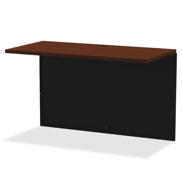 Lorell Walnut Laminate Comm. Steel Desk Series