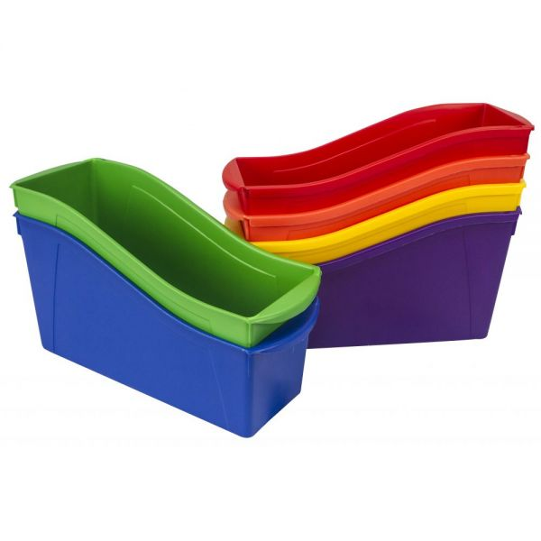 Storex Book bin with front pockets, Assorted, case of 6