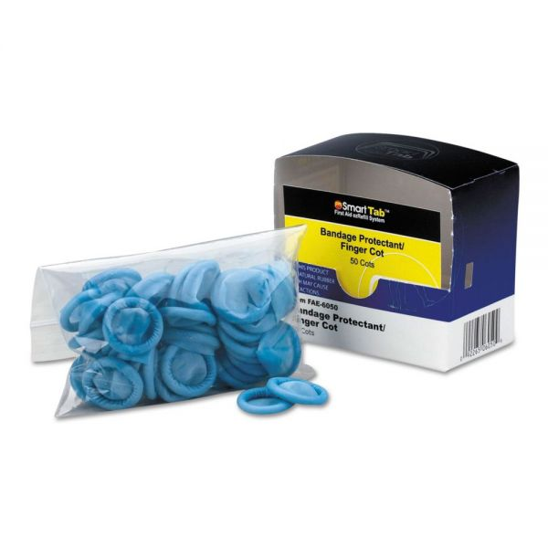 First Aid Only Smart Compliance Refill Finger Cots, Blue, Nitrile, 50/Box