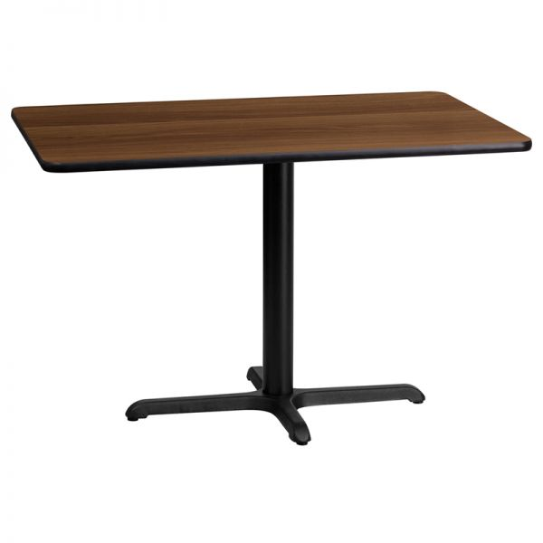 Flash Furniture 24'' x 42'' Rectangular Walnut Laminate Table Top with 22'' x 30'' Table Height Base