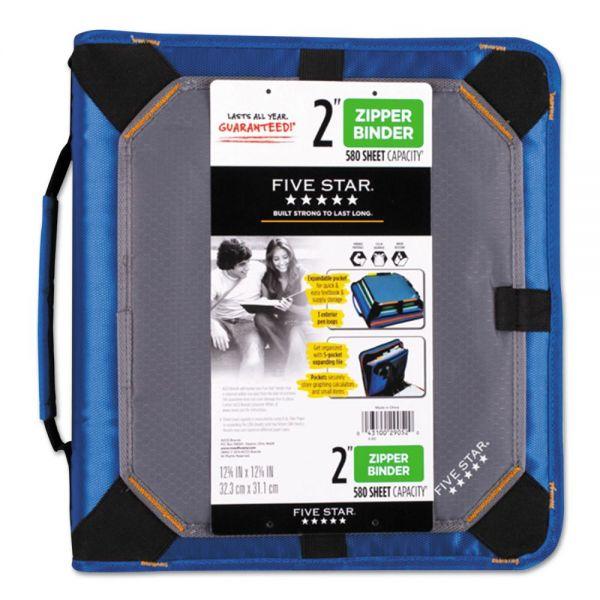"Five Star Zipper Binder Plus Expandable Panel, 11 x 8 1/2, 2"" Capacity, Blue"
